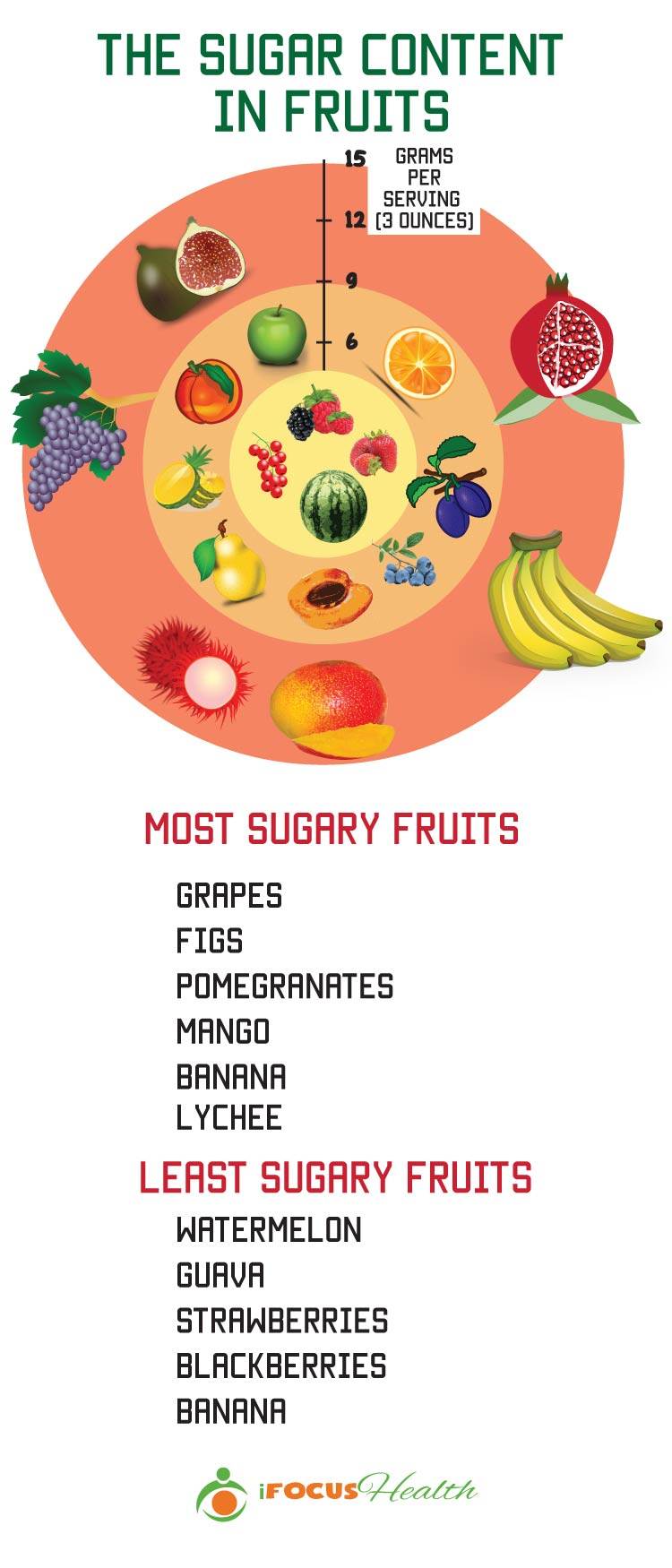 sugar in fruits infographic