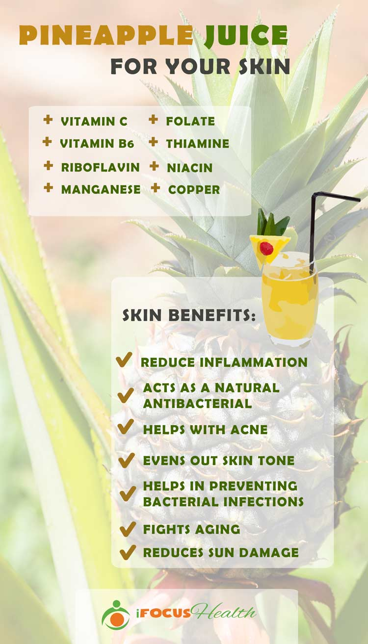 pineapple juice benefits for skin infographic