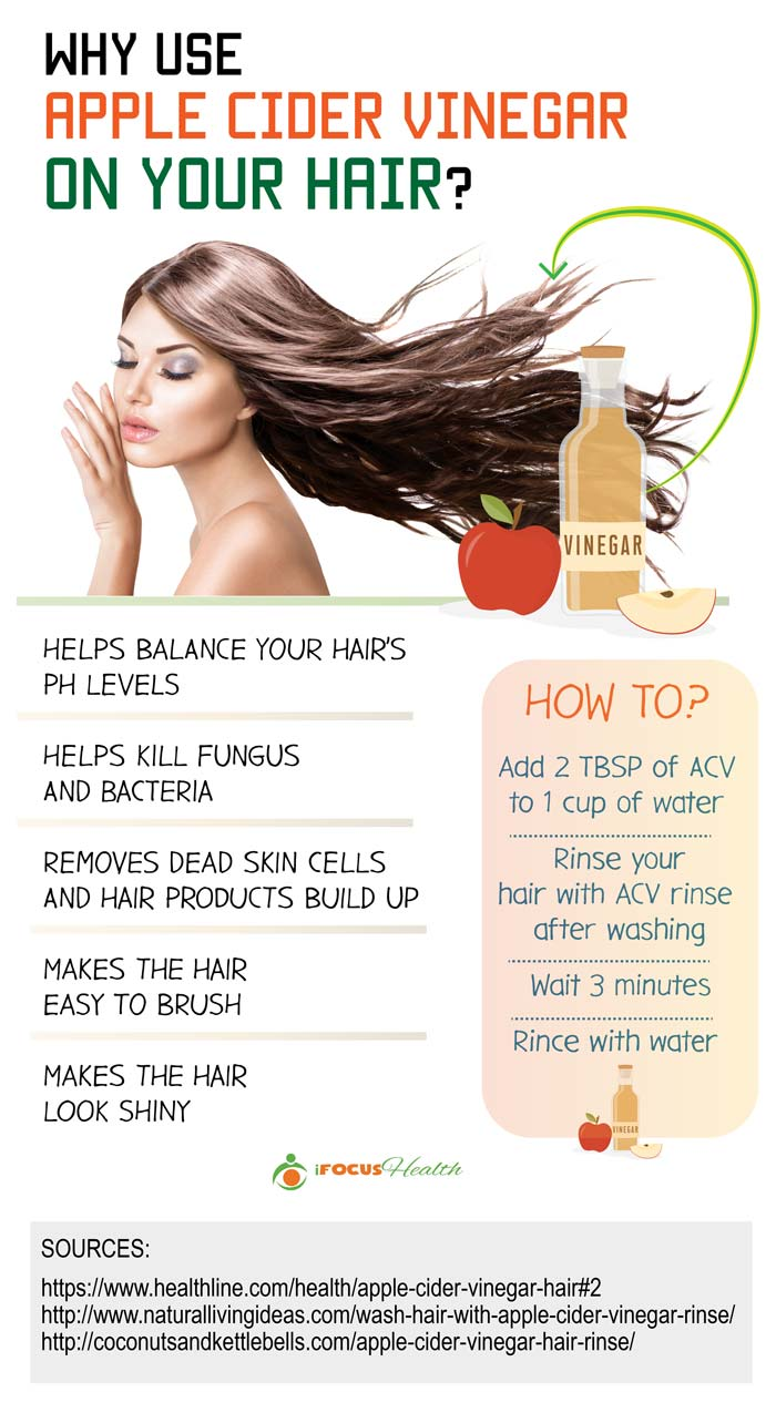 apple cider vinegar for hair infographic